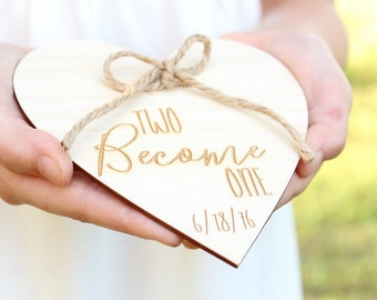 Two Become One Wedding Ring Holder Rustic Wedding Ring Holder #DownInTheBoondocks