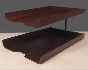 Mid Century IN and OUT Tray 1960s Vintage Teak Office Desk Accessory in the style of Florence Knoll