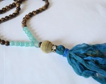 SARI TASSEL NECKLACE Long Coco Wood Aqua Glass Teal Sari Tassel Ethnic Necklace