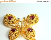 MOVING SALE Half Off Large Vintage Gold Tone Metal Rhinestone and Purple Enamel  Butterfly Signed Avon Brooch