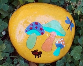 Hand Painted Garden Rock, original Mushroom Painting