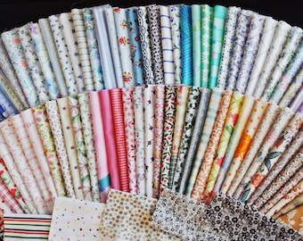 Lot of 125 pcs -1250 gram large assortment smaller pieces of vintage 1960-80s unused multicolor pastel cotton fabrics for quilting prodjects