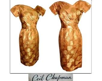 Vintage 1950s Ceil Chapman Dress ~50s ~ Copper ~ Gold Metallic Roses