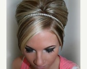 ON SALE Wedding Headpiece, Headband, SINGLE Row Rhinestone ribbon, Accessories, Bridal, Wedding Hairpiece, Bridal Ribbon Headband, Rhineston