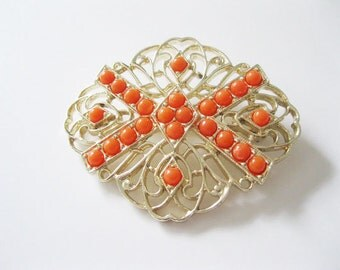 Coral Orange Brooch Sarah Coventry Gold Tone Large Brooch