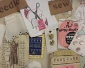 vintage sewing journaling kit | vintage sewing embellishments for junk journals | vintage junk journal embellishments | DIY shabby
