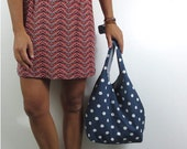 navy hobo bag with white polka dots. design your own cross body bag or shoulder purse large or medium. Fall line.