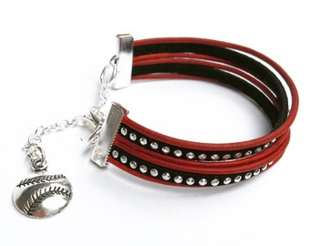 baseball charm bracelet in your choice of leather cord and silver studded suede color. lobster clasp with chain adjustable fit.