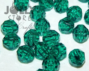 8mm Round Faceted Beads - Emerald Translucent - 500 piece bag