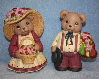 Handpainted Ceramic Valentine Bear Couple all dressed up and holding pink roses and red hearts