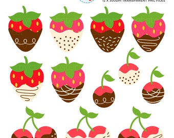 Strawberries & Cherries Clipart Set - chocolate dipped berries, strawberry, cherry - personal use, small commercial use, instant download