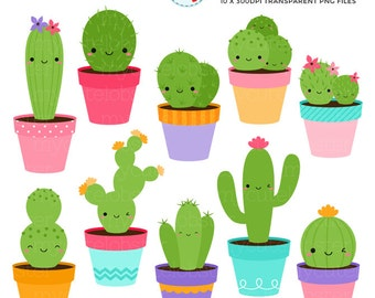 Happy Cactus Clipart Set - cute cactus clip art set, cacti, cactuses, plants, happy - personal use, small commercial use, instant download
