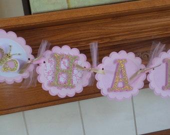 Pink gold Happy Birthday Banner, Pink Gold Butterfly Banner, 1st Birthday banner, Pink Damask gold butterfly banner, 3D banner