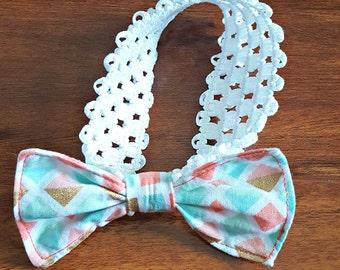 Diamond bow infant headband