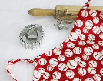 Baseballs on Red Child Apron