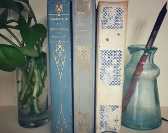 Set of Three Blue Color Antique Books, Display, Collection, Photo Props, Altemus