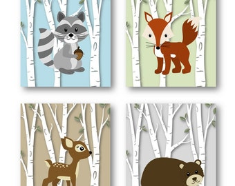 Woodland Nursery Decor // Woodland Nursery Art // Forest Animals Nursery Art // Animal Nursery // Animal Wall Art // PRINTS ONLY