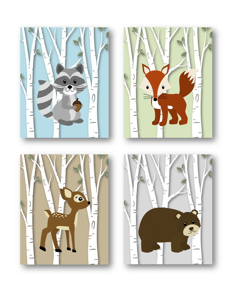 Woodland nursery decor woodland nursery art by for Animal decoration