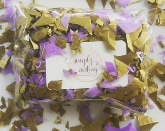 Half oz Gold and Lavender handcut confetti, table confetti, dessert table confetti, wedding decor, bridal shower, party decorations, confet