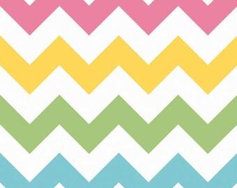 SALE Chevron Girl Large Riley Blake Basics Spring Multi Pink Blue Green Yellow C330-03 One yard