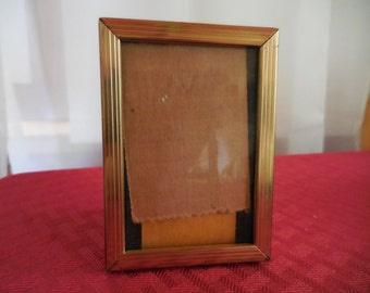 Vintage 1950s Gold Tone Metal Small Picture/Photo Frame 2x3 Rectangle Self Stand or Hang Vertical Self Stand Horizontal Only