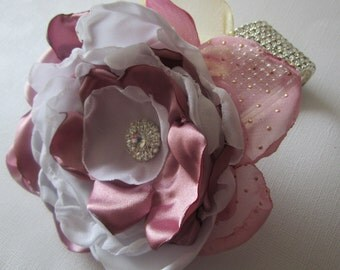 Wedding corsage with pink flower bridal white and pink flower corsage, bridal and bridesmaids corsage, Mother of bride corsage,