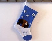 Bison Buffalo Personalized  Christmas Stocking by Allenbrite Studio