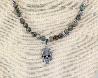Day of the Dead jewelry, sugar skull necklace, skull jewelry, hypoallergenic skull jewelry