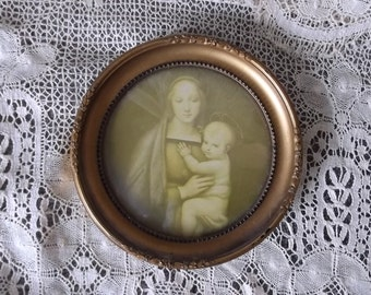 II Madonna and child, vintage picture, sepia and goldtone framed round