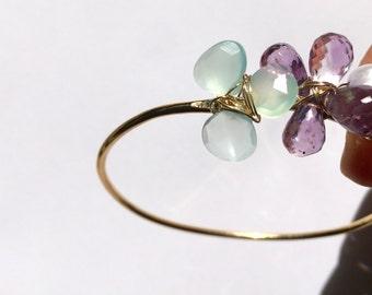 Blue Chalcedony, Amethyst, Purple Pearl, Goldfill Bangle, Something blue, Lilyb444, Etsy wedding, Etsy jewelry,