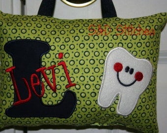 Boys Tooth Fairy Pillow - Personalized - Ring bearer gift - Christening gift