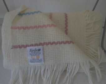 FARIBO Fringed Throw Off White Pastel Wool Blend