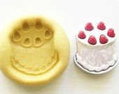 Strawberry cake Mold #509 - silicone, crafts, jewelry, resin, porcelain, clay, candies, baking, plastic, metal and more uses