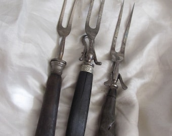 3 Antique Early Century Horn and Wood Meat Carving Forks Lot Assorted