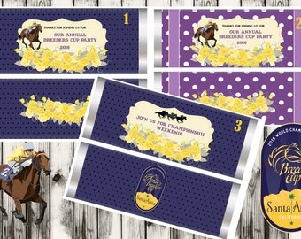 Breeders Cup candy Bar Wrappers, Breeders Cup party favors, party favors, Breeders Cup party, Breeders Cup favors. Set of 10.