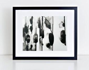 """Abstract Minimalist; Ink Abstract; Ink Minimalist; Black; 9x12"""" by Nader Shenouda"""
