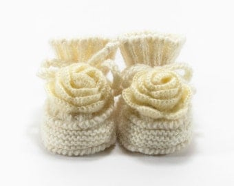 Knitted Baby Booties with Crochet Flower - Natural White, Cream, 3 - 6 months