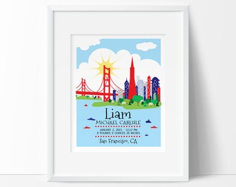 London nursery london skyline personalized baby gift birth san francisco printable personalized baby gift birth announcement wall art wall art baby negle Image collections