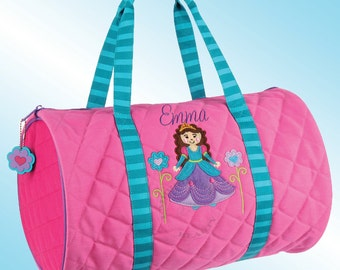 Quilted Duffle Bag - Personalized and Embroidered - PRINCESS