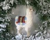 Stuffed Puffy Peruvian Llama Ornament with Fringed Blanket