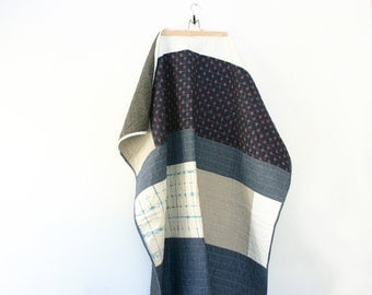 Throw Sized Patchwork Chambray, Shibori, LInen and Ikat Quilt