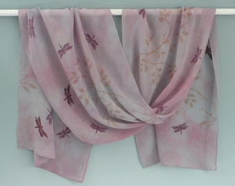 Dragonfly Scarf, 100% Silk, Hand Dyed Mauve Pink, Handprinted