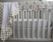 Design Your Own -Watercolor Arrows in Gold and Grey- changing pad cover, rail covers, boppy covers, crib sheet, crib skirt, bumpers