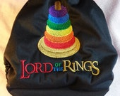 """SassyCloth one size pocket diaper with """"Lord of the Rings"""" embroidery on black PUL. Ready to ship."""