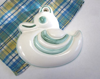 Duck Wall Hanging Handmade Stoneware Mold Mould White Blue-Green Signed