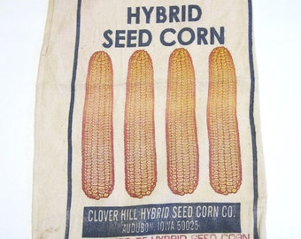 Vintage Farm Feed Seed Corn Sack Rustic Decor Agricultural Collectible Bag Clover Hill Audubon Iowa