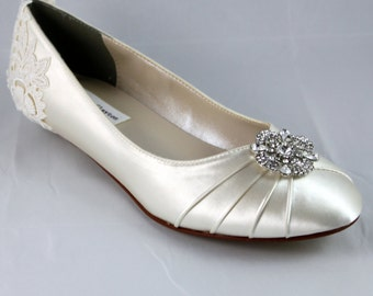 Ivory Lace Wedding Flat  - The Marigold - size 8.5 Sale