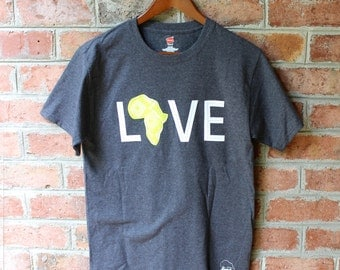 LOVE Africa T-shirt: Small Celery