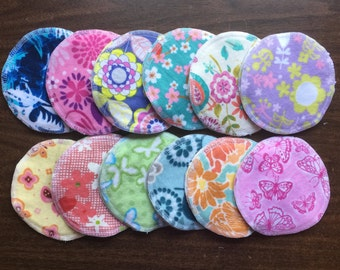 Nursing pads/Facial Wipes 12 sets (24 total) Flowers and Butterflies made with 4 layers of 100% cottlon flannel