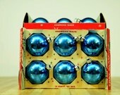 Vintage Corning Coby Glass Christmas Ornaments: Set of Six Glass Blue Balls
